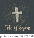Vintage label, Christian cross religious vector 32726050