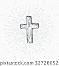 Vintage label, Christian cross religious vector 32726052