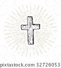 Vintage label, Christian cross religious vector 32726053
