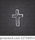 Vintage label, Christian cross religious vector 32726054