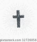 Vintage label, Christian cross religious vector 32726056