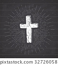 Vintage label, Christian cross religious vector 32726058