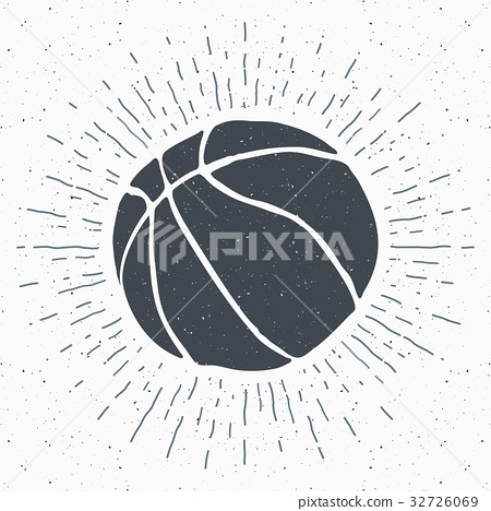 Vintage label, Basketball ball sketch, vector 32726069