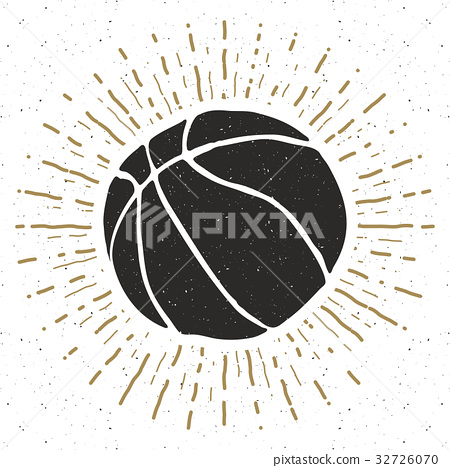 Vintage label, Basketball ball sketch, vector 32726070