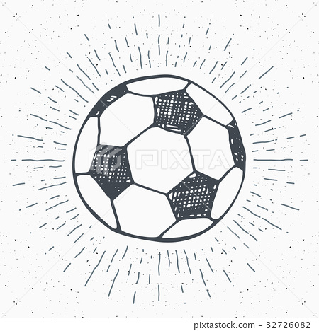 Vintage label, Football, soccer ball sketch vector 32726082