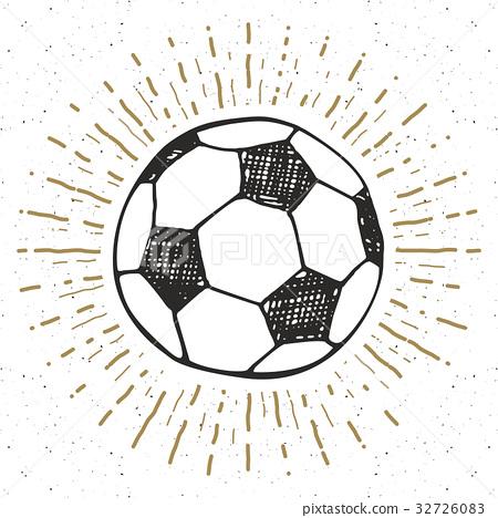 Vintage label, Football, soccer ball sketch vector 32726083