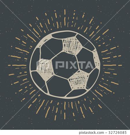 Vintage label, Football, soccer ball sketch vector 32726085