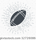 Vintage label, football rugby ball sketch vector 32726086