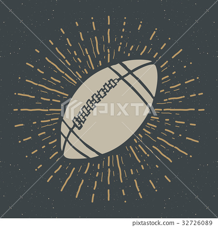Vintage label, football rugby ball sketch vector 32726089