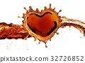 Heart from cola splash with bubbles isolated on 32726852