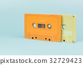 cassette tape with light blue background, close up 32729423