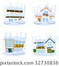 在灾害住房的雪风暴 32730836