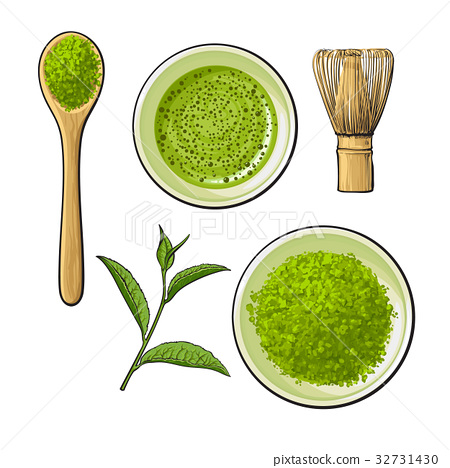 Matcha powder bowl, wooden spoon and whisk, green 32731430