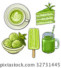 Hand drawn food with matcha tea - ice cream, cake 32731445