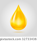 Golden oil drop isolated on light grey background. 32733436