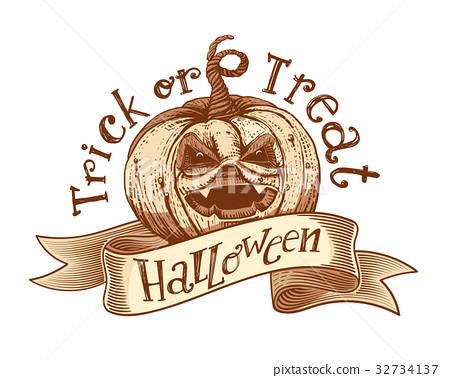 Trick or treat retro Halloween sketch 32734137