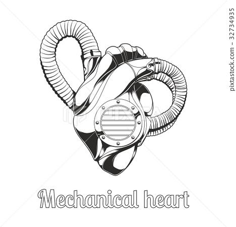 Mechanical Heart Lineart 32734935