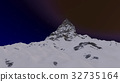 Snowy mountain peak at night 3D render 32735164