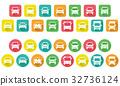 变形的汽车图标(圆角矩形和圆形) 32736124