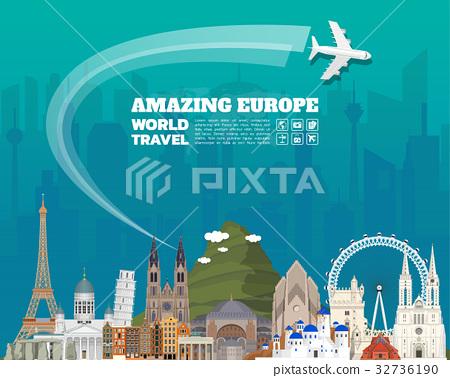 Europe famous Landmark paper art. Global Travel. 32736190