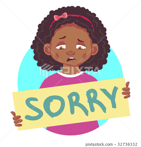 Sad african girl holding sorry poster 32736332