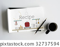 Illustration of food cooking kitchen utensil on notebook 32737594