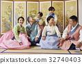 대가족, 동양인, 마주보기 32740403