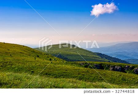 grassy hillside on mountain in summer 32744818
