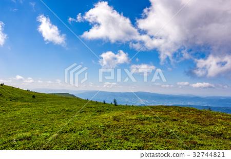 grassy hillside on mountain in summer 32744821