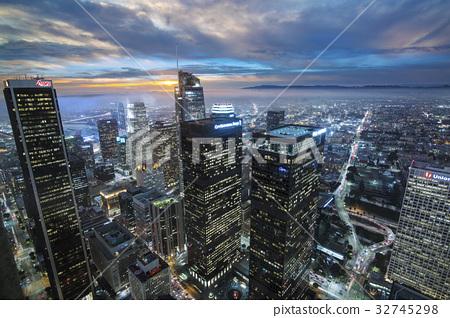 洛杉矶 夜景 暮色 32745298