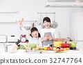 주방 요리 가족 부모와 아이 엄마 라이프 스타일 32747764
