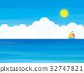 Sea yacht clouds sky sun 32747821