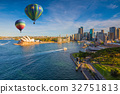 Hot air balloon over Sydney bay in evening 32751813