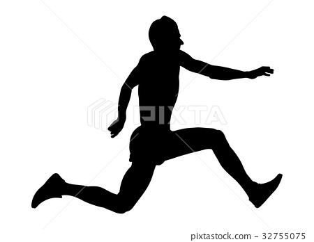 male athlete jumper a triple jump 32755075