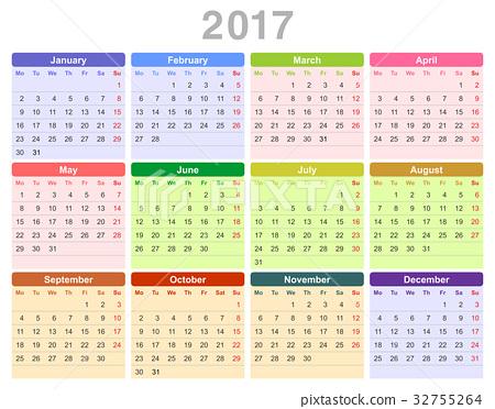 2017 year annual calendar (Monday first, English) 32755264