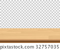 Wood table top on isolated background. Vector 32757035