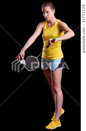 Young woman badminton player 32757126