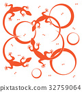 Cute vector illustration of lizards and circles. 32759064