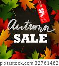 Frame of autumn leaves painted on black chalkboard 32761462