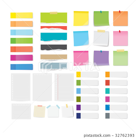set of sticky note and paper sheets background. 32762393