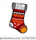 Color Sketch Christmas sock 32763502