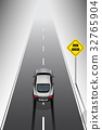 Sport car is braking when see the risk signs 32765904