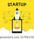Startup icons with rocket symbol illustration 32766336