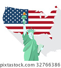 Statue of liberty  with American map illustration 32766386