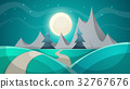 Cartoon night landscape. Fir, mountain. 32767676