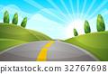 Cartoon landscape illustration. Sun. cloud, hill. 32767698