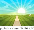 Cartoon landscape illustration. Sun. road, cloud 32767712
