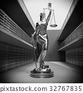 Prison bars and Lady of Justice 3d rendering 32767835