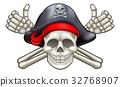 Pirate Skull and Crossbones 32768907