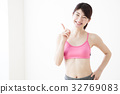 여성 다이어트 복근 젊은 여성 흰색 배경 피트니스 스포츠 운동 32769083